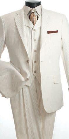 Angelo Men's 3 Piece Seersucker Suit – High Fashion – Clothing Connection Online High Fashion Outfits, Suit Fashion, Men's Fashion, Fashion Clothes, Prom Suits For Men, Mens Suits, Groom Suits, Groom Attire, Sharp Dressed Man