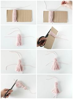 DIY Tassel Bookmarks - Pottery Barn - Bernice West - DIY Tassel Bookmarks – Pottery Barn DIY Tassel Bookmarks – Pottery Barn How to make a yarn tassel Always wanted to figure out how to knit, but undecided where to start? Easy Diy Crafts, Yarn Crafts, Diy Yarn Decor, Diy Originales, Marque Page Origami, Tassel Bookmark, Diy Bookmarks, Homemade Bookmarks, Custom Bookmarks