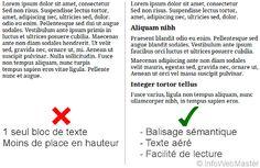 Pour bien écrire sur internet, le rédactionnel doit utiliser un balisage sémantique. Le texte doit être découpé en petit bout facile à lire.