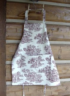 Toile Apron  100 Cotton Cranberry  Red  Off  White  by CabinLil, $30.00