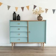 commode buffet vintage bleu - Mid century dresser