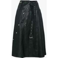 Alexander McQueen High waisted leather wrap skirt ($4,340) ❤ liked on Polyvore featuring alexander mcqueen