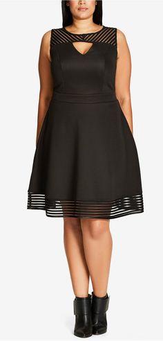 Plus Size Illusion Fit & Flare Dress