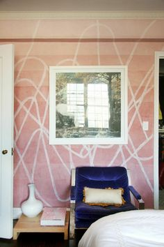 Pink bedroom walls with abstract design; Pink Bedroom Walls, Interior And Exterior, Interior Design, Mural Wall Art, Home Office Decor, Home Decor, Elegant Homes, Wall Treatments, Beautiful Interiors