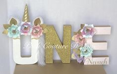Unicorn Floral Letters ©/ Unicorn First Birthday/ Unicorn