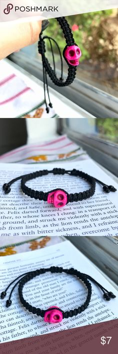 """💀Hot Pink Sugar Skull Bracelet💀 🔮ASK ME TO CREATE A NEW LISTING W/ YOUR LIKES for 10% DISCOUNT DON'T USE """"ADD TO BUNDLE"""" BUTTON ⇨ Get a FREE Bracelet!  •Handmade by me!   • Black nylon thread with hot pink howlite skull charm made in a macrame patterned bracelet with sliding knot. Finished with elegant black beads at both ends of tie string.   •ⓢⓘⓩⓔ: Adjustable knot (fits any size)  •Coachella/rock/edc/raves/Friendship/Gypsy/Boho/Rocker/day of the…"""