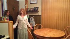 Amish Split Pedestal Dining Table - we think that this surprised customer LOVES her new Amish furniture!
