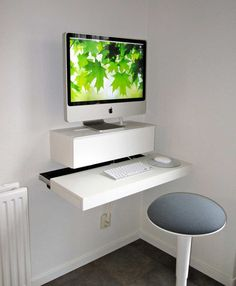 Furniture. Wall Mounted Computer Desk With Keyboard Counter For Small Workspace. Computer Desk For Small Spaces