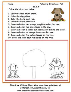 Students will love the chance to follow directions and complete the fall scene in this worksheet. View other free printables at pinterest.com/susankhansen/ Listening And Following Directions, Following Directions Activities, Speech Therapy Activities, Language Activities, Listening Activities, Play Therapy, Speech Language Pathology, Speech And Language, Teachers Pay Teachers Free