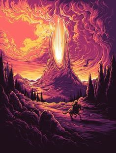 Reimagine Classic Movies Through The Acid-Trip Style Of Artist Dan Mumford Landscape Sketch, Landscape Concept, Fantasy Landscape, Landscape Illustration, Digital Illustration, Fantasy Illustration, Boat Illustration, Dibujos Dark, Dan Mumford