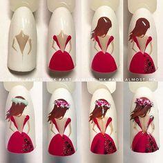 Make an original manicure for Valentine's Day - My Nails Nail Art Hacks, Nail Art Diy, Cool Nail Art, Diy Nails, Cute Nails, Manicure, Nail Swag, Nail Drawing, Nail Art Designs Videos