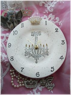 Royal Clock with Glitter and a Crown by Angelheartdesigns on Etsy, $38.00