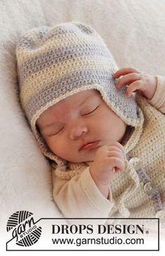 Heartthrob Hat / DROPS Baby 25-23 - Virkad mössa med ränder till baby i DROPS Alpaca. Stl 0 – 4 år
