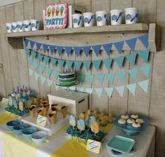 Blue Ombre Dessert Table Boys Birthday Party Blue ombre Boy