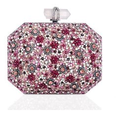 Marchesa Iris Beaded Box Clutch Bag ($2,495) ❤ liked on Polyvore featuring bags, handbags, clutches, purses, bolsa, pink multi, pink clutches, pink beaded purse, embroidered handbags and marchesa handbags