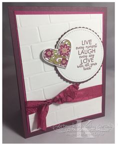 "Faithful INKspirations: Live, Laugh, Love is made with Stampin' Up's ""Ribbon of Courage"" stamp set."