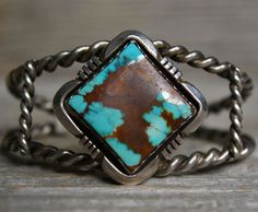 Wonderful Navajo Native TURQUOISE Sterling Silver Cuff Bracelet by Lena Platero