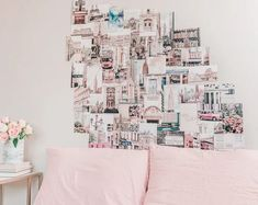 Living the Dream Dorm Collage Kit Photo Wall Decor Set of 50 College Student Gift Photo Wall Collage, Photo Wall Decor, Wall Decor Set, Pastel Home Decor, Pastel House, Travel Wall Art, Pink Aesthetic, Aesthetic Photo, Pastel Pink