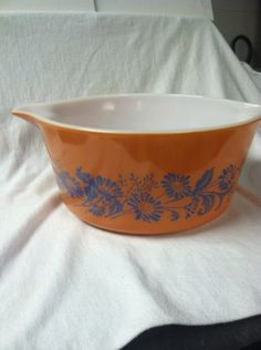 Vintage Pyrex Orange With Blue Flower Casserole Dish