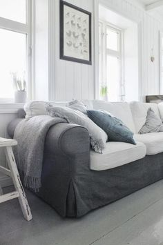 Ektorp sofa with combination of gray and white slipcovers? Furniture, Living Room Sofa, Ektorp Living Room, Home, Ikea Ektorp Sofa, Ektorp Sofa, Contemporary Home Decor, Living Room Grey, Ikea Couch
