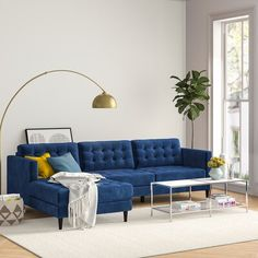 Modern Rustic Interiors Livingston Sectional Upholstery Colour: Indigo Blue, Orientation: Right Hand Facing Blue Couch Living Room, Design Living Room, Living Room Color Schemes, Living Room Sectional, Home Living Room, Sectional Sofa, Living Room Ideas In Blue, Living Room Decor Blue Sofa, Blue And Gold Living Room