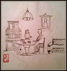 """""""Одинокое чаепитие"""" стиль се-и китайская тушь и бумага 21 х 21,5 см  #китайская_живопись #Chinese_painting #Chinese_style #декор #art #decor #творчество #Russian_art"""