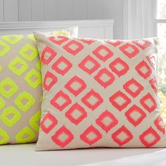 this pillow cover boasts a bright sequin pattern over a natural cotton and linen blend to combine two favorite design aesthetics