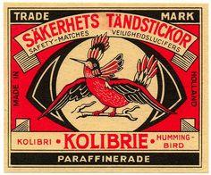 vintage Match Box label