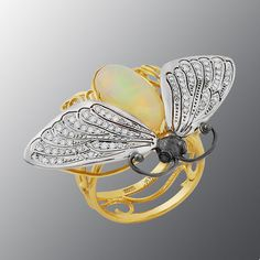 """Stones diamond grit, Opal, Material Gold 750 from contemporary Moscow jewelry company """"Master R.O.S.S.I.I."""" (""""Master of Russia"""")"""