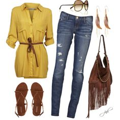 """""""Mustard Tunic and Fringe"""" by jill-hammel on Polyvore"""
