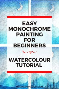 Click here to learn how to paint a watercolour monochrome painting by following this simple step-by-step tutorial. This easy monochrome painting for beginners will teach you how to use one colour to create a blue monochrome painting landscape. Moreover, you'll improve your watercolour paintings by learning about gradients, tonal values, and atmospheric perspective. So click here to explore new painting ideas. Watercolor Paintings For Beginners, Watercolor Tips, Acrylic Painting Tutorials, Beginner Painting, Watercolour Tutorials, Easy Paintings, Watercolour Paintings, Watercolours, Monochromatic Paintings