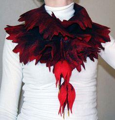 романтический - шарф,цветы,чёрный,красный,валяный шарф,шерсть мериносовая