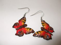 Elizabeth makes these beautiful butterfly earrings from leather.  Email uniquecreations@cogeco.ca for details. Butterfly Earrings, Beautiful Butterflies, Artisan, Drop Earrings, Detail, Unique, How To Make, Leather, Jewelry
