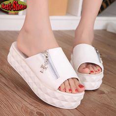 2015 New Women Summer Platform Flat Shoes Women 4 Colors Casual Platform Sandals Women Zipper Decoration