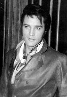 Elvis at the Gates of his Hillcrest Home 1969