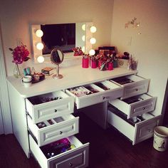 Vanity set makeup dressing table makeup vanity table with lighted mirror modern round wall mount makeup vanity bedroom vanity with[. Makeup Desk, Makeup Rooms, Makeup Storage, Makeup Dresser, Vanity Organization, Diy Makeup, Makeup Tables, Organization Ideas, Makeup Vanity Lighting