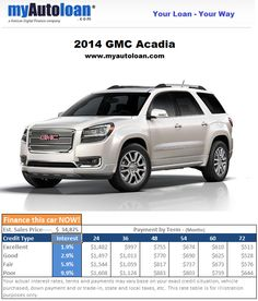 Sweet looking 2014 GMC Arcadia, what color should you get? www.myautoloan.com