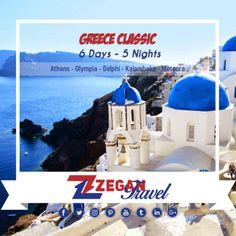 Greece Classic (6 Days - 5 Nights)  * Athens - Olympia - Delphi - Kalambaka - Meteora  *Airport Transfers  *Guided Daily Tours   Contact us now info@zegantravel.com  http://www.zegantravel.com/Zt-605-Greece-Classic  #greece #greecetour #greecetravel #athens #athenstour #athenstravel #olympia #delphi #kalambaka #meteora #tour #travel #worldtravel