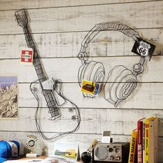 Cheap decoration art, Buy Quality decorative decorative directly from China decorative wall art Suppliers: Metal wire guitar wall decor art music wall sculpture wire headset wall decor Boy Room, Kids Room, Wire Wall Art, Teen Girl Bedrooms, Teen Music Bedroom, Music Rooms, Bedroom Themes, Bedroom Ideas, Bedroom Wall