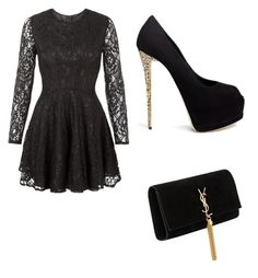 """luv this dress"" by brittany78904 ❤ liked on Polyvore featuring John Zack, Giuseppe Zanotti and Yves Saint Laurent"