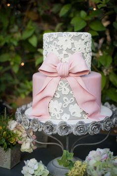 Beautiful Grey & White Lace Patterned Little Cake - Birthday Cake, Little Cakes, Wedding Cakes