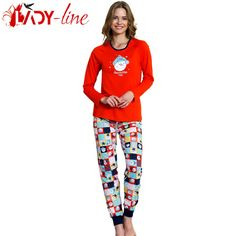 Poze Pijamale Dama Bumbac 100%, 'Awesome Today' Red, Vienetta Secret