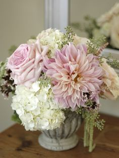 dahlias, hydrangea & roses...reminds me of my bouquet, except the pink flowers were white and the hydrangeas were blue :-)