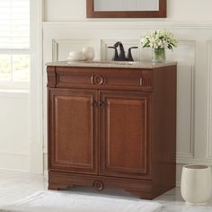 Home Decorators Collection 30.5 In. Bradford Vanity In Cognac With Solid  Surface Vanity Top In Cappuccino