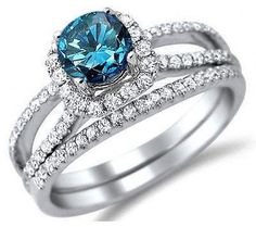 2.80CT TDW BLUE & WHITE SOLITARE DIAMOND ENGAGEMENT RING WITH 14K WHITE GOLD #A1