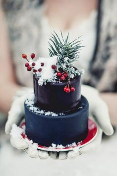 evergreen and berry cake