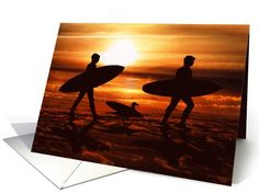 #Surfers on the Beach at Sunset with Seagull (Blank Inside) card  #gravityx9 #GreetingCardUniverse -
