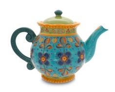 Gracie China Dutch Wax Hand Paint Ceramic 4-Cup Teapot,Blue/Green/Floral: Amazon.com: Kitchen & Dining