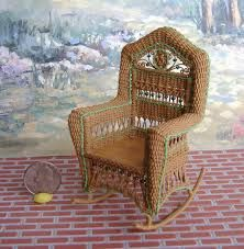 Very nicely done miniature Victorian wicker rocker - the detail is amazing Miniature Chair, Miniature Houses, Miniature Furniture, Doll Furniture, Miniature Dolls, Victorian Dollhouse Furniture, Victorian Dolls, Victorian Ladies, Vintage Dolls