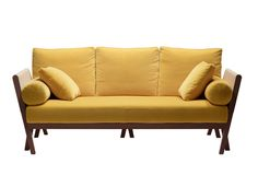 Hermès Yellow LeatherSofa de réceptionPhoto: Pietro CARRIERI  hermes.com Sofa Chair, Sofa Furniture, Couch, Yellow Leather Sofas, Hermes Home, Single Sofa, Art Of Living, Industrial Design, Love Seat
